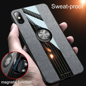 Soft Frame Cloth Magnetic Car Holder Case for iPhone X XR XS Max with Finger Ring