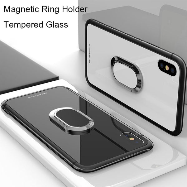 brand new 46190 c6d09 Phone Case - Tempered Glass Case with Magnetic Car Holder for iPhone XS Max  XR XS X