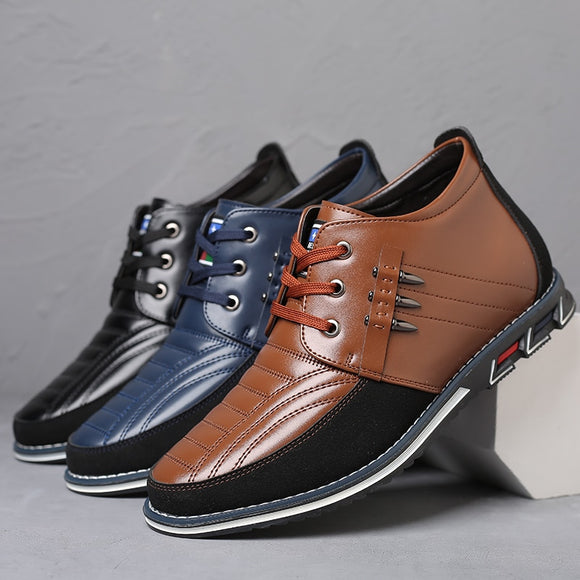 Men Fashion Leather Rivet Lace Up Business Ankle Boots(Buy 2 Get 10% off, 3 Get 15% off )