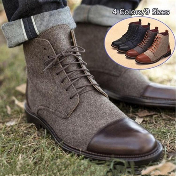 Men's Shoes - Large Size Casual Lace Up Oxfords Patchwork Shoes