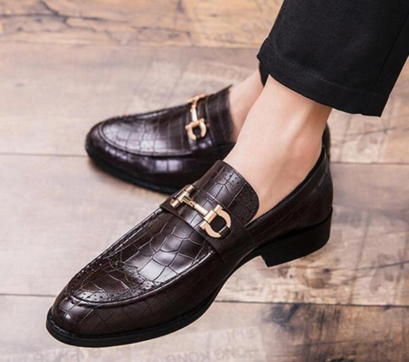 Men Crocodile Leather Casual Business Shoes