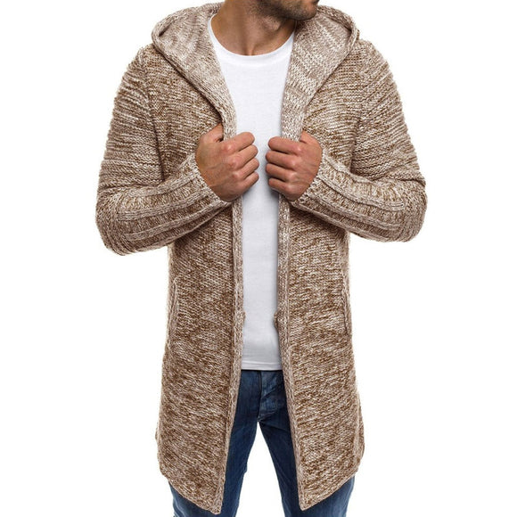 Men's Knit Wool Coat Hooded Cardigan Solid Long Sleeve