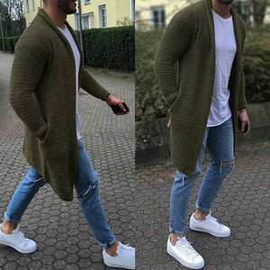 Men's Wool Cardigan Warm Thick Pocket Fashion Long Sweaters