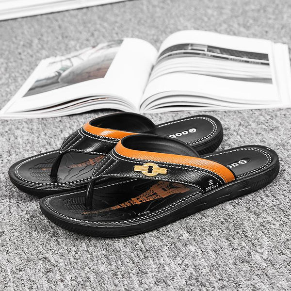 Men's Beach Leather Flip-flops