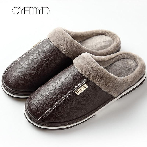 2019 Plus Size Men PU Leather Waterproof Warm Slippers