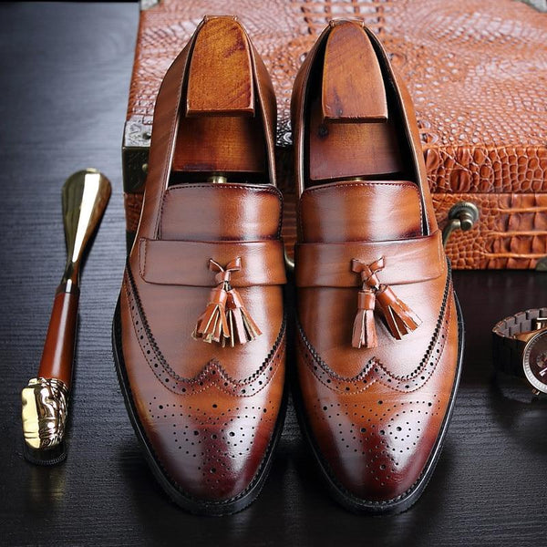 2019 Luxury Men Classic Brogue Leather Dress Shoes