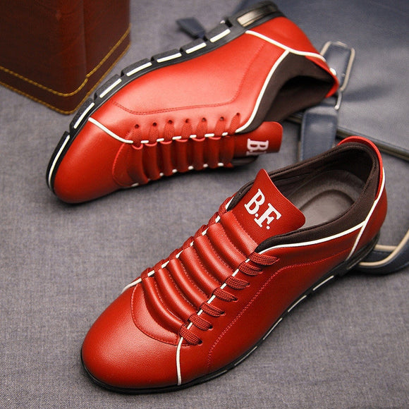 Big Size Fashion Leather Men Flat Shoes