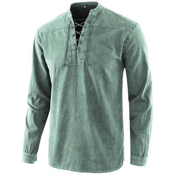 V-NECK DENIM LONG SLEEVE SHIRT
