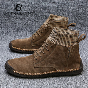 Men Black Vintage Warm Big Size Boots