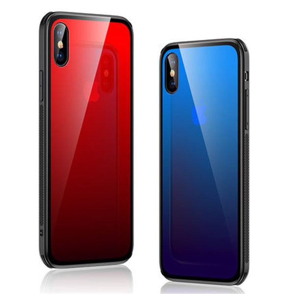 Phone Case - HD Gradient Tempered Glass Phone Case for iPhone XR XS MAX X