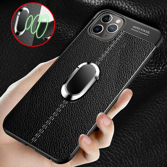 Luxury Leather Magnetic Ring Bracket Back Cover For iPhone