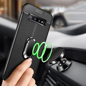 Phone Accessories - Magnetic Ring PU Leather Soft Silicone TPU Holder Cover For Samsung S10 10 Plus SE