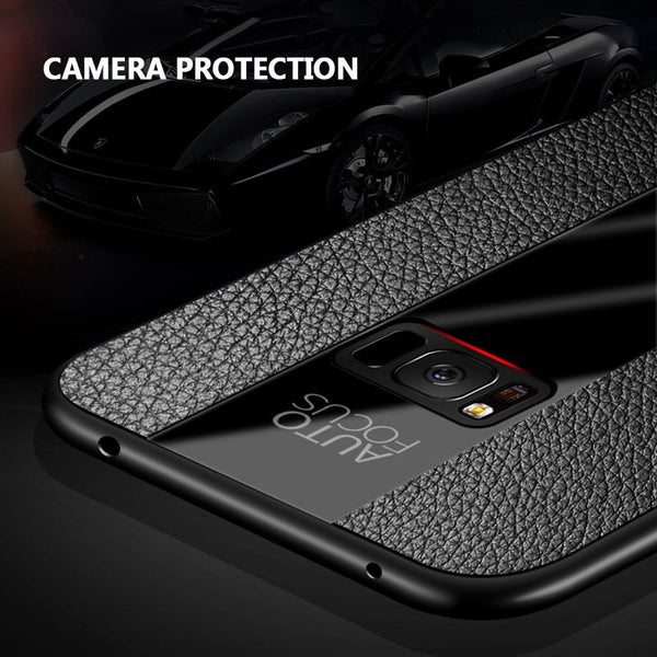 Business Fashion PU Leather Back Holder Case For Samsung S8 S9+ Note 8 9 S10+