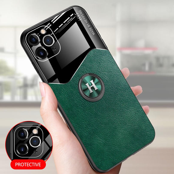 Magnetic Ring Stand Leather Soft case for iphone