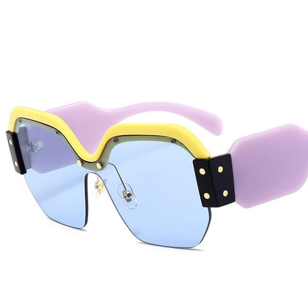Sunglasses - Fashion Purple Sexy Rimless Oversized Sunglasses