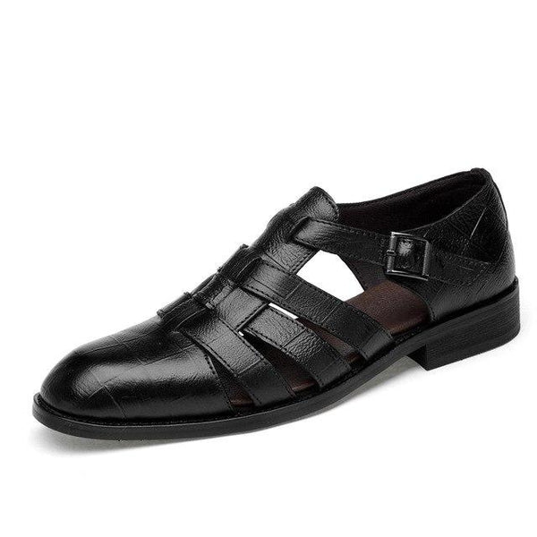 Men Genuine Leather Handmade Classic Solid Buckle Dress Shoes