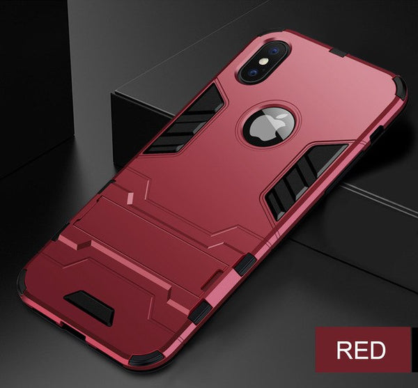 Full Shockproof Armor Silicone Edge Back Stand Case For iPhone XR X XS MAX