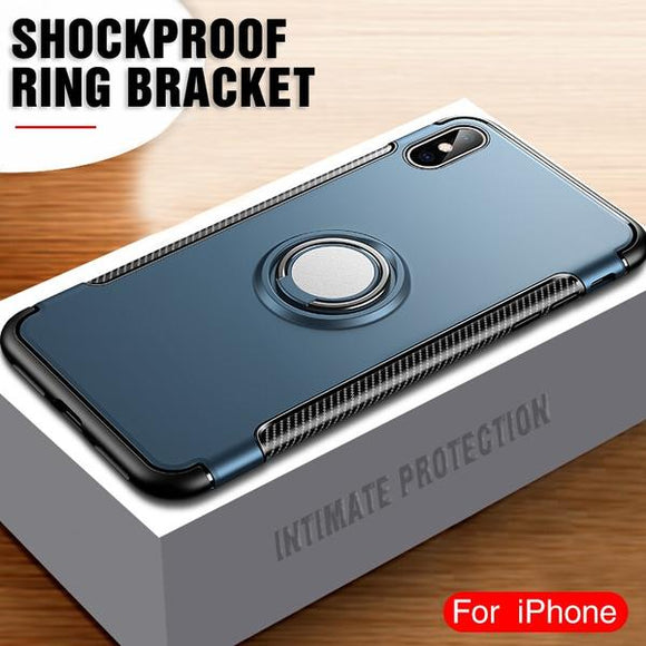 Luxury Car Magnetic Ring Shockproof Case For iPhone XR XS Max X 8