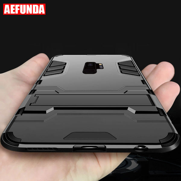buy online 80ad6 a8b9a Ultra Thin Stand Armor Case For Samsung Galaxy Note 8 9 S10 S10Plus S9 S8  Plus S7 S6 Edge