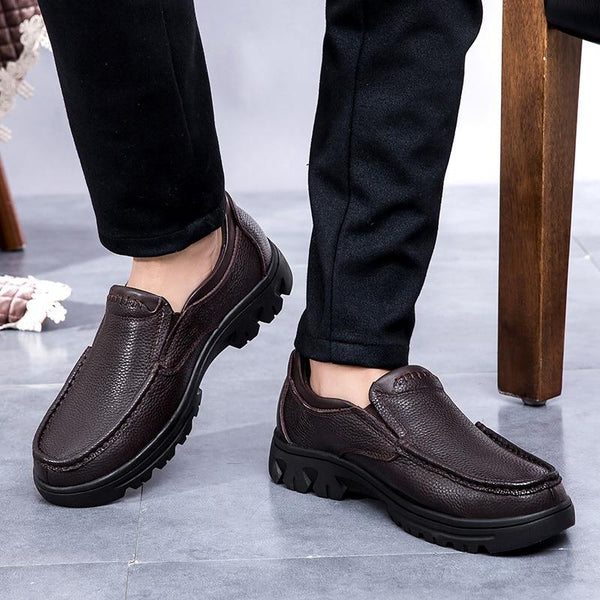 Men Genuine Leather Shoes Flats Spring Autumn Shoes Slip On Solid Shoes