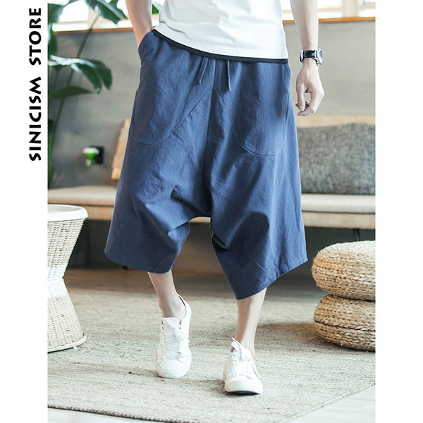 Summer Baggy Pure Cotton Men's Wild Crotch Harem Pants ( Buy 2 Get extra 5% off,Buy 3 Get Extra 10% off )