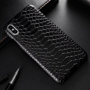 Snake Skin PU Leather Shockproof Back Case For iPhone XS MAX XR X 8 7 6 6s Plus