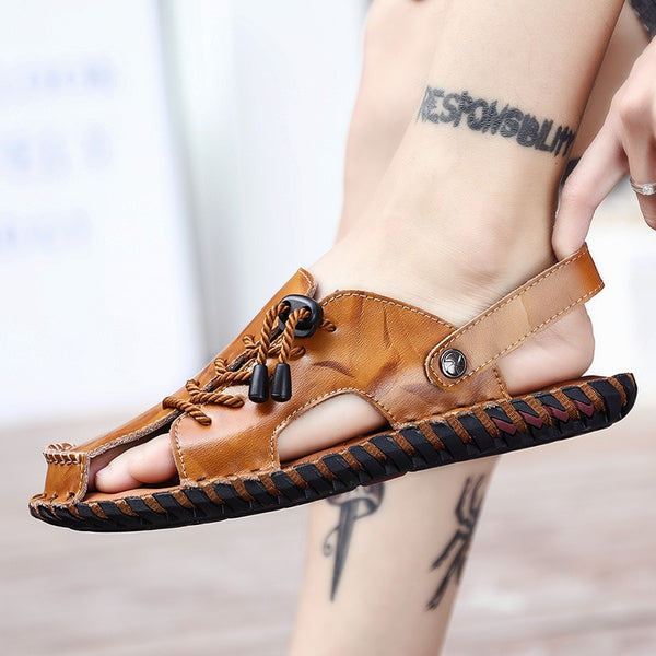 Roman Style Genuine Leather Beach Flat Sandals