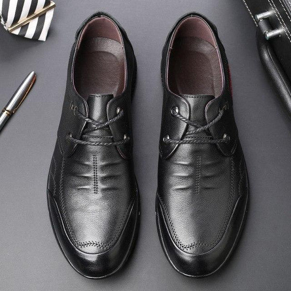 Men Pure Color Round Toe Soft Sole Lace Up Leather Shoes