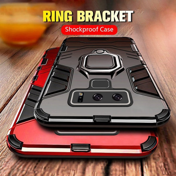 online store 8b4f4 73f5b Luxury Shockproof Armor Case For Samsung Note 9 S10 S10E S10Plus Note 8 s8  plus with Car Magnetic Ring( No Mobile Phone Holders )
