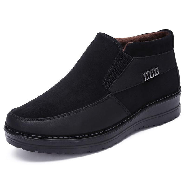 Men's Shoes - 2019 Men's Casual Comfortable Flat Slip On Leather Warm Non-slip Shoes