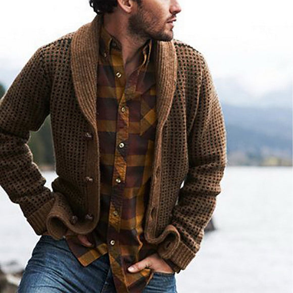 Men Hooded Wool Cardigan Sweaters