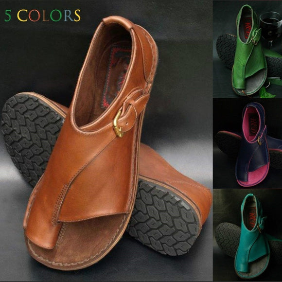 Sandals - Women Summer Leather Sandals Beach Chunky Heel Hollow-out Shoes