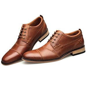Top Quality Oxfords British Style Men Genuine Leather  Business Dress Shoes Plus Size