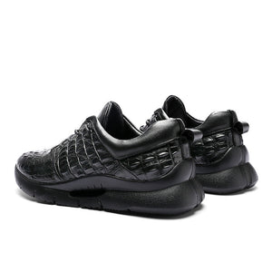 Crocodile Pattern Genuine Leather Lace-up Trend Sneakers