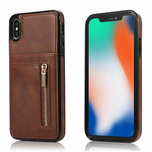 Zipper Leather Card Holder Wallet Covers Case for iPhone X XR XS Max