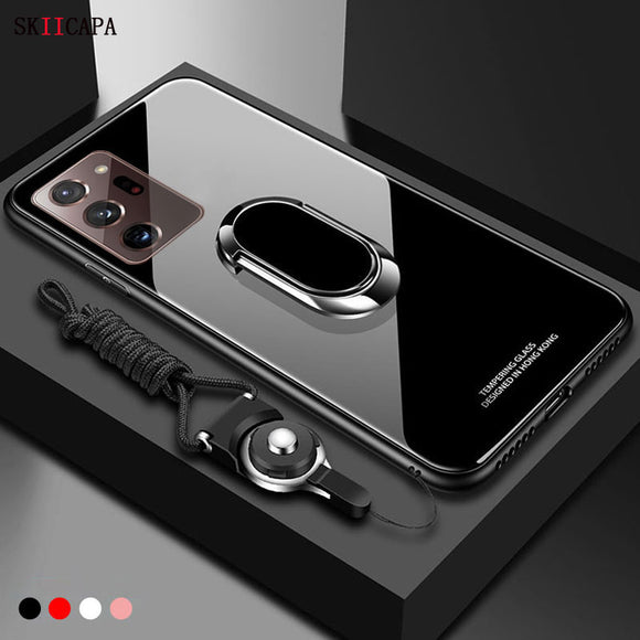 Tempered Glass Magnet Ring Holder Case for Samsung
