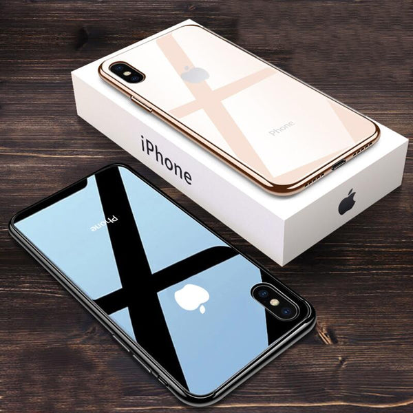 Luxury Ultra Thin Slim Transparent Glass Case for iPhone XS Max XR X 8 7 Plus 6 6s