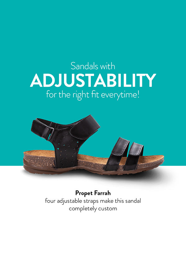 Propet Farrah four adjustable straps make this sandal completely custom