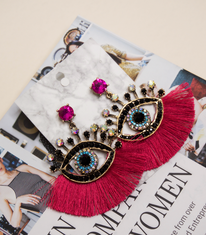 Retro Eyes Rhinestone Earrings | Hot Pink Fringe