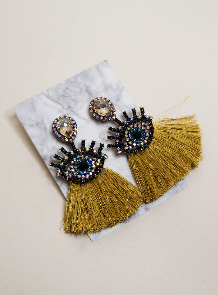 Diamond Eyes Fringe Earrings | Yellow