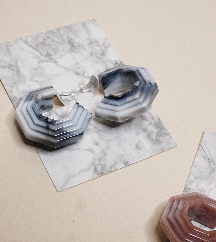 Retro Marble Earring | Grey