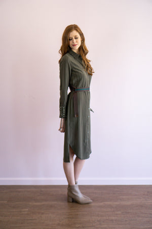 Pinstripe Olive Midi Dress