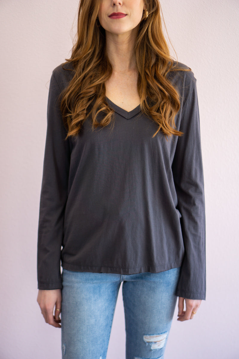 Classic V-neck Long Sleeve- Charcoal