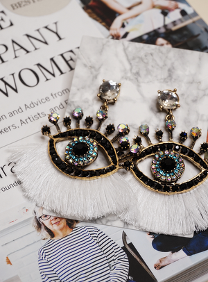 Retro Eyes Rhinestone Earrings | White Fringe