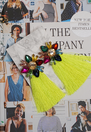 Jewel Fringe Earrings | Neon