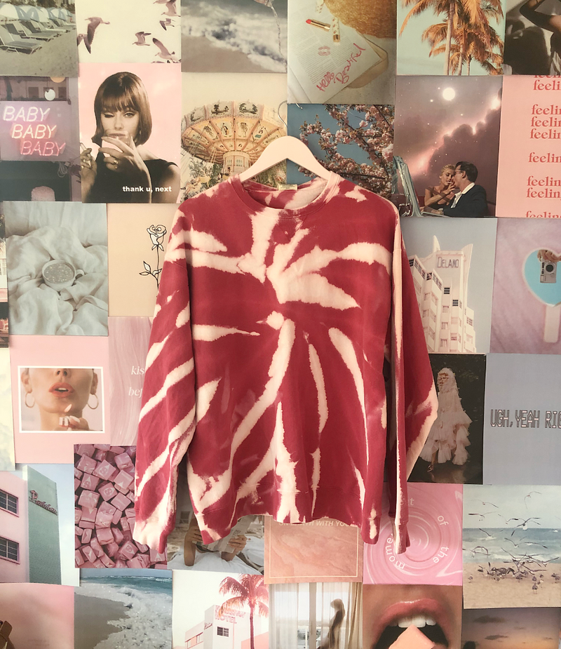 Crimson Cream Tie Dye sweatshirt
