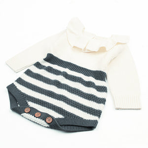 Greta Romper - Knitted Baby Grow (Grey or Red Stripes)