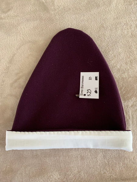 Norse Viking lined purple wool hat, Large #113