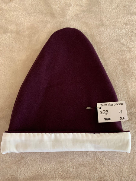 Norse Viking lined purple wool hat, XL #71