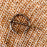 Pennanular style cloak pin brooch closure, antique brass color, style 21
